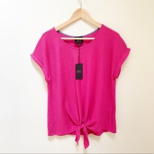 W5 bright pink ribbed blouse knot M